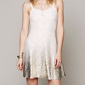FREE PEOPLE IVORY LACE & GOLD FOIL OMBRE DRESS